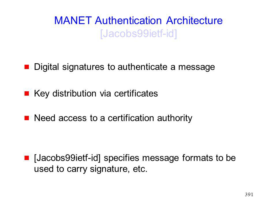 MANET Authentication Architecture [Jacobs99ietf-id]